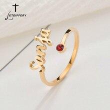 Letdiffery-Anillos personalizados con nombre de piedra de nacimiento para mujer, joyería personalizada de cristal ajustable de acero inoxidable, regalos de cumpleaños únicos