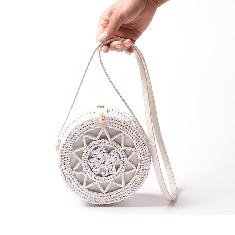 Lovevook Women Straw Bag For 2019 Summer Woven Rattan Shoulder Beach Bag For Travel Bohemia Round Hollow Messenger Crossbody Bag