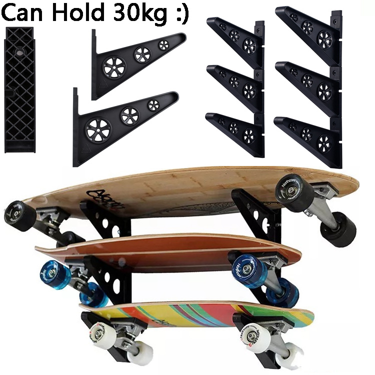 Skateboard Wall Mount Holder Rack Deck Home Display Hanger PP Skateboard Hooks