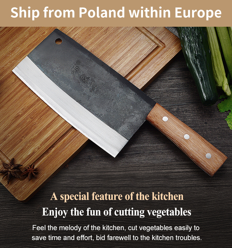 Dengjia Knife High-grade Handmade Forged Blade Chinese Chef's Knife Vegetable Cleaver Carbon Steel Kitchen Knife for Cooking