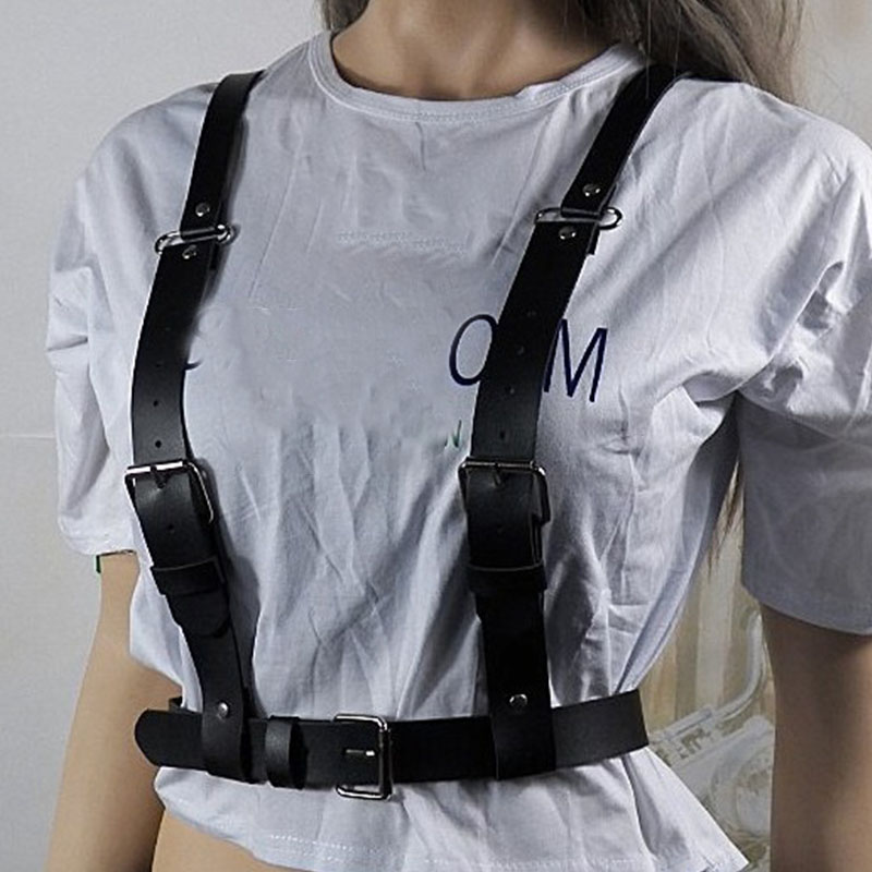 Sexy Leather Harness Collar Bondage belts for Women Underwear Belt Stockings Wide Waist belt Garters Cage Bra Suspenders in Women 39 s Belts from Apparel Accessories