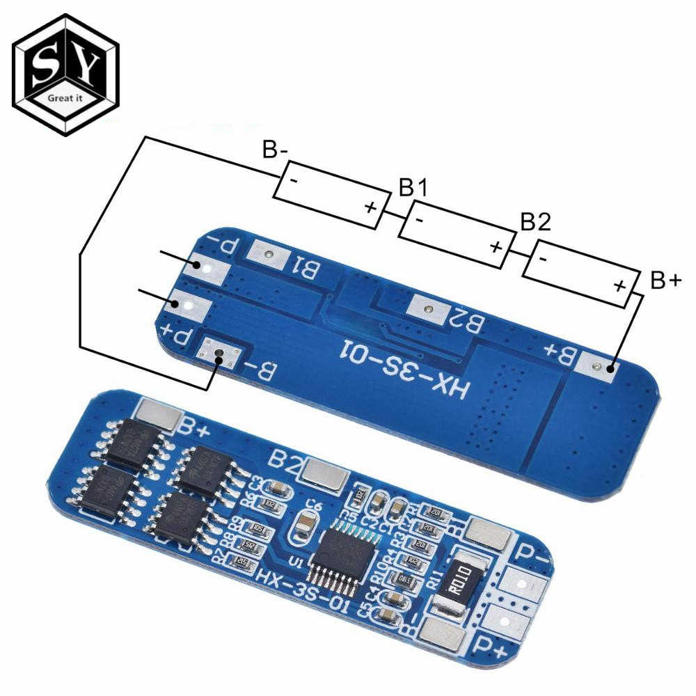 12V 10A 18650 3S BMS Ladegerät Li-Ion Lithium-Batterie Schutz HX-3S-01 Bord D9B5