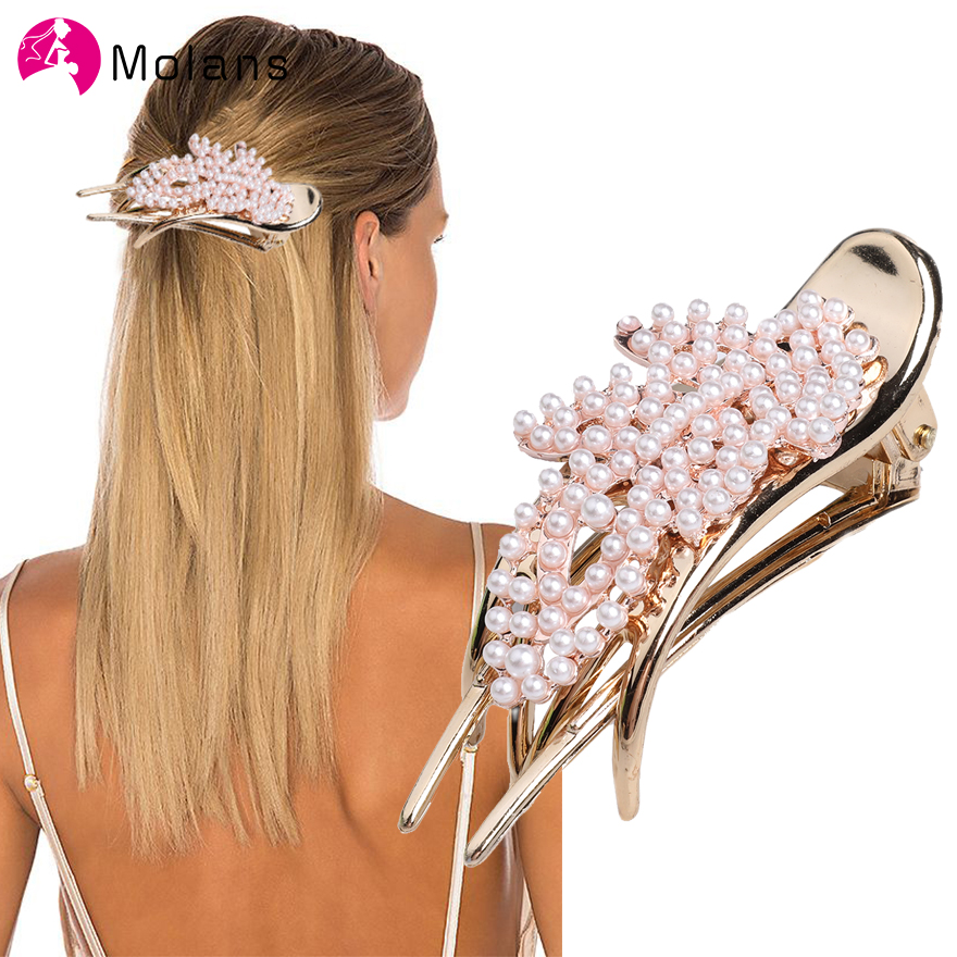 Molans 2019 Pearls Hairpins Hair Ornaments Simple Shiny Big Pearls Acrylic Crab Hair Claws For Women Girl Accessories   Headwear