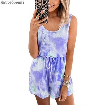 Tie-dye Print Sleeveless 2020 Women playsuit Jumpsuit Summer Casual Overalls Sportswear Playsuits Sexy Strap Rompers Lounge Wear casual tie strap playsuits in pink