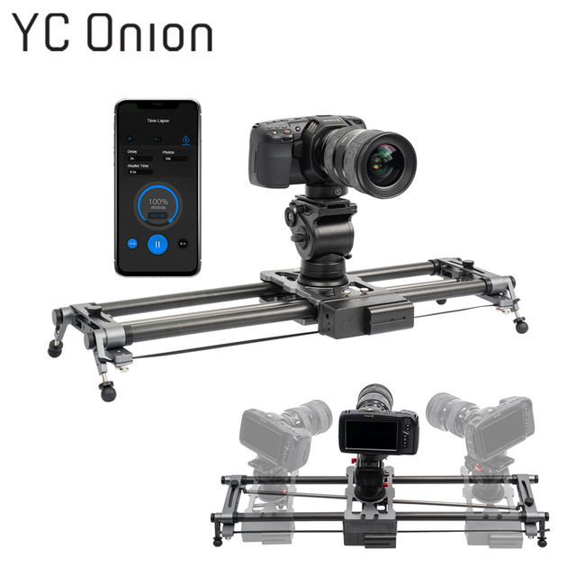 YC ONION Track Camera Slider Carbon Fiber Adjustable Angle Tube Follow Focus Pan for Stabilizer DV DSLR Cameras Video Shooting
