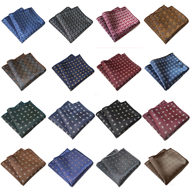 Luxury Men's Handkerchief Wedding Polyester Floral Printed Hankies Polyester Hanky Business Pocket Square Chest Towel 25*25cm