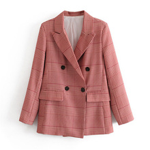 Women elegant houndstooth red plaid Suit blazer Notched Coll