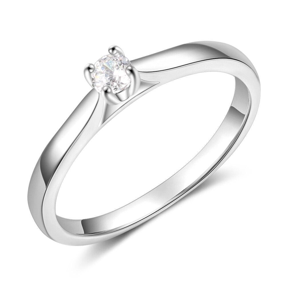 Promise кольцо из стерлингового серебра 925 с кубическим цирконием классические обручальные кольца для женщин подружки невесты подарки(JewelOra RI101321 - Цвет основного камня: R4009
