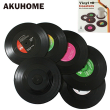 Vinyl Record Table Mats Drink Coaster Table Placemats Creative Coffee Mug Cup Coasters 2 4 6 PCS Heat-resistant Nonslip Pads cheap AKUHOME 18W30-02 Stocked Europe ROUND SILICONE