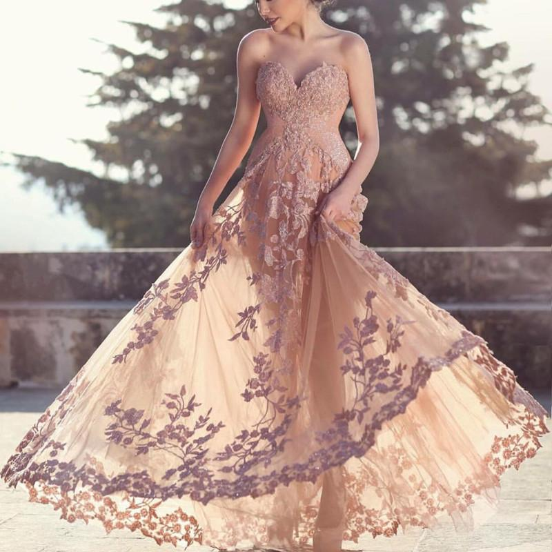Evening Dresses 2019 A-line Sweetheart Lace Formal Long Prom Dress Floor Length Rochii De Ocazie