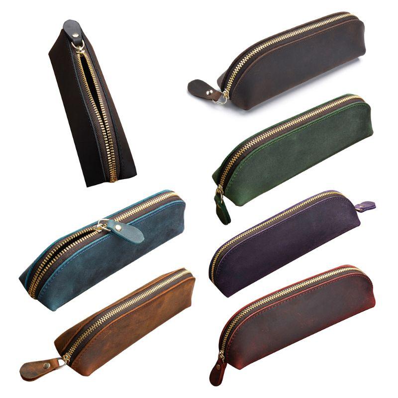 Crazy Horse Leather Pencil Bag Vintage Retro Zipper Fountain Pen Makeup Pouch
