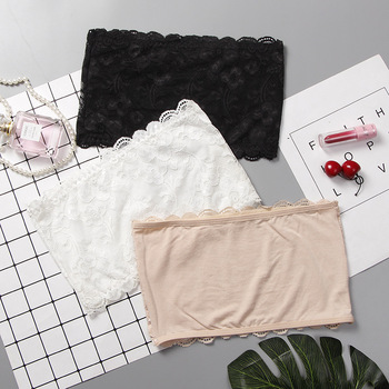 Ladies Wrapped Chest Tube Top Lace Lace One-piece Non-slip Anti-light Sexy Bottoming Underwear Women Strapless Top  Bandeau Bra lace underwear wrap around lace with coasters inside sexy bottoming cross anti glare beauty back strapless bra tube top