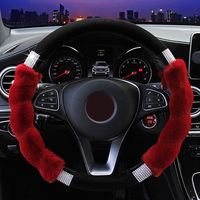 Car Steering Wheel Cover Imitation Rex Rabbit Fur Glitter Rhinestone Replacements Steerings Covers Styling