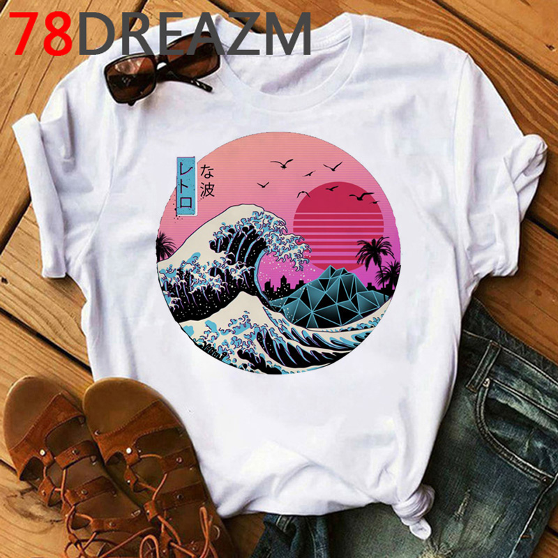 Vaporwave T Shirt Men Summer Top Funny Cartoon Tshirt Aesthetic The Great Wave Graphic Tees Oversized Unisex Top Clothing Male