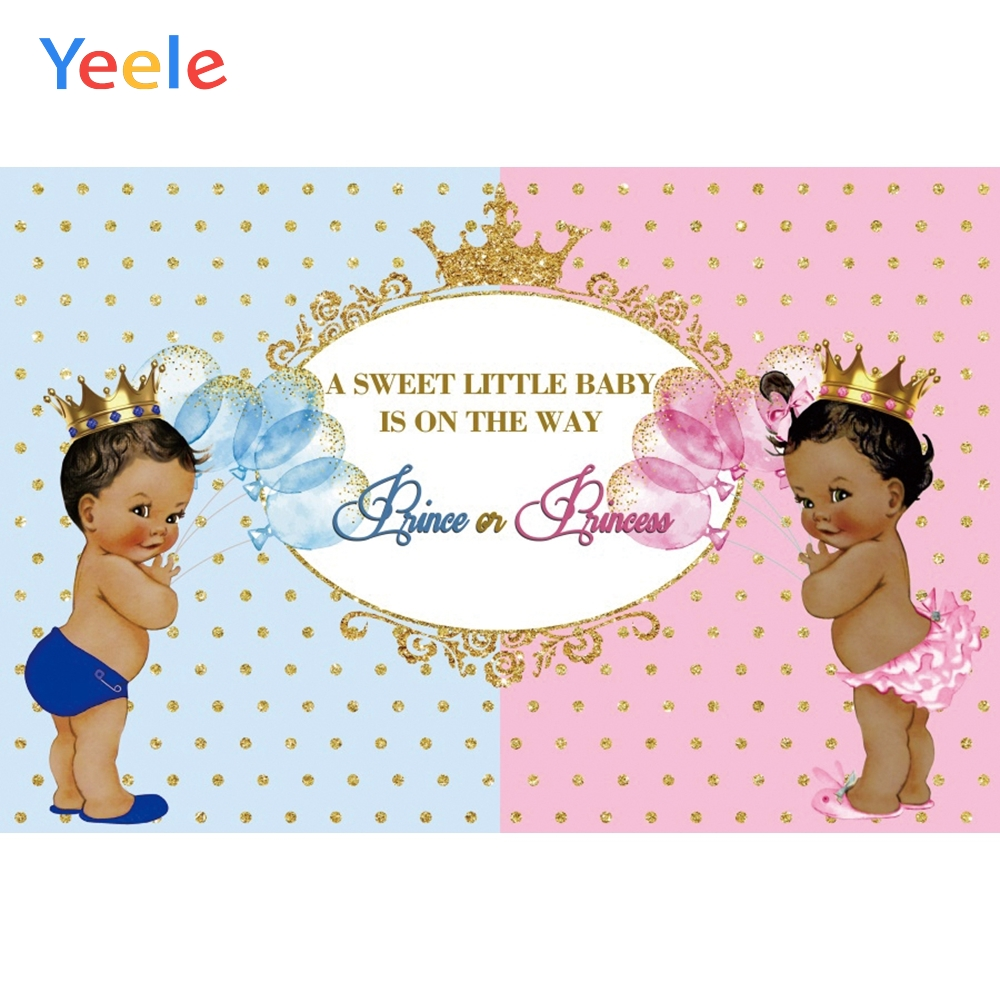 Yeele Gender Reveal Backgdrop Prince or Princess Baby Shower Sweet Party Photography Backdrops Blue or Pink Photo Background