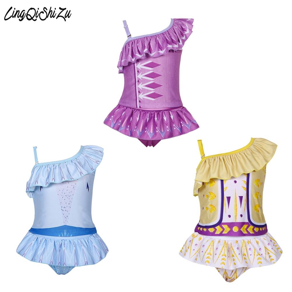 3-9 Years 2 Pieces/Set Toddler Girls Swimwear For Kids Anna Elsa Beach Kids Swimwear For Girls Children Toddler Swimsuits Girl
