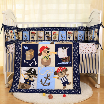 Crib Bedding Sets for Boys Blue Pirates Baby Crib Sets 7 Piece Newborn Cot Nursery set-quilt, sheet, ruffle and bumpers