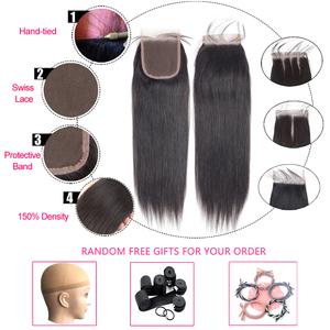Image 5 - Lumiere Hair Straight Bundles With Closure Brazilian Hair Weave Bundles With Closure non remy Human Hair 3 Bundles With Closure