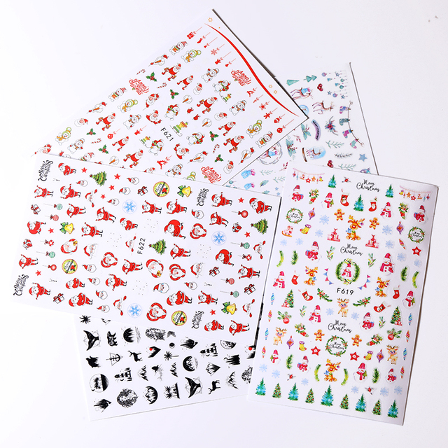 1 Sheet Christmas Nail Sticker Colorful Snow man Mixed Patterns Nail Art Transfer Decals for DIY Nail Beauty Design Decorations