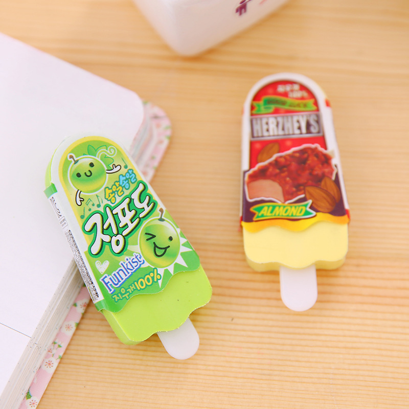 2pcs Brand New High Quality Ice Cream Eraser Free Shipping Kawaii Eraser Escolar Goma De Borrar Children's School Supplies