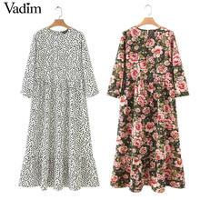Vadim женское платье макси в горошек, плиссированное, рукав три четверти, Женские повседневные Прямые Платья, шикарные, длина до лодыжки, vestidos QB260