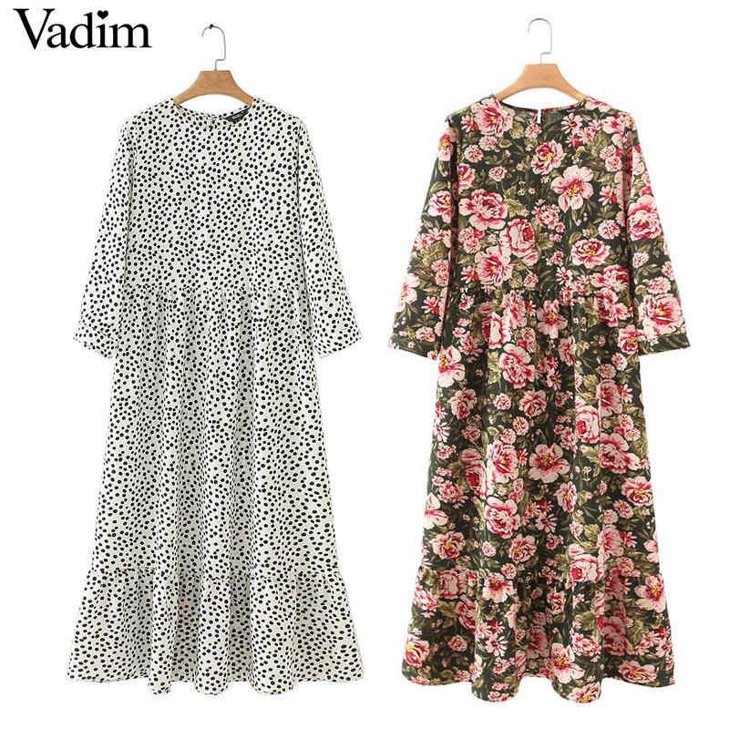 Vadim femmes points impression maxi robe plissée trois quarts manches femme décontracté robes droites chic cheville longueur vestidos QB260