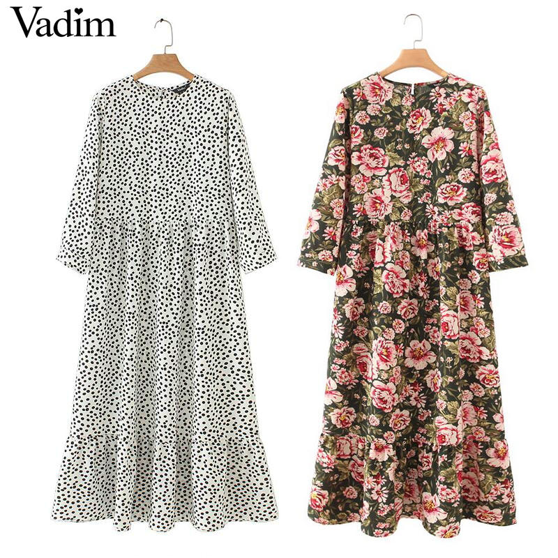 Vadim Maxi Dress Pleated Three-Quarter-Sleeve Dots Print Vestidos Chic Female Ankle-Length title=