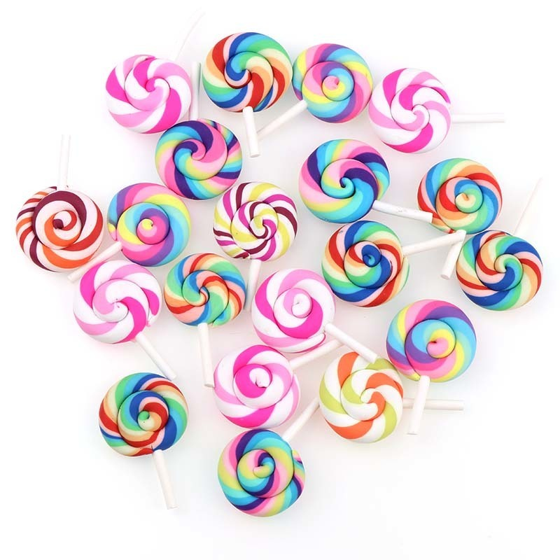 10Pcs/lot Rainbow Colorful Spiral Lollipop Charms Pendants DIY Miniature Candy Decoration Handmade Jewelry Accessories Girl Toys