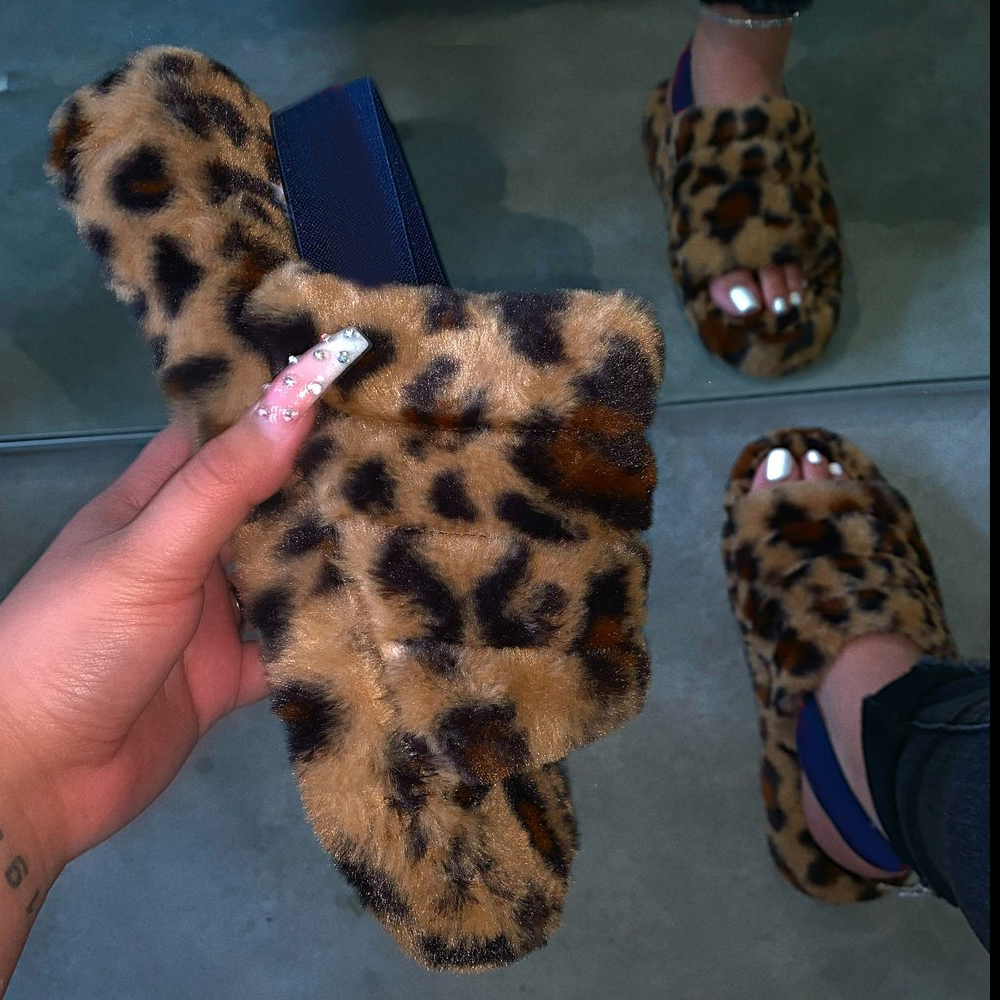 Women Spring Plush Slippers 2020 Flat Bottom Antiskid Indoor All-around Comfortable Sandals Outdoor Leisure Zapatos Mujer