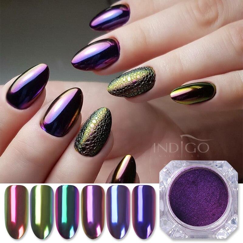 1 коробка, пудра-Глиттер для ногтей хамелеон, высококлассная пудра для дизайна ногтей, Хромовый пигмент для дизайна ногтей, профессиональна...