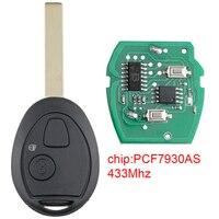 Carro chave de substituição 433 mhz 2 botões carro remoto chave fob com pcf7930as chip apto para land rover 75 mg zt 2002-2005 veículo
