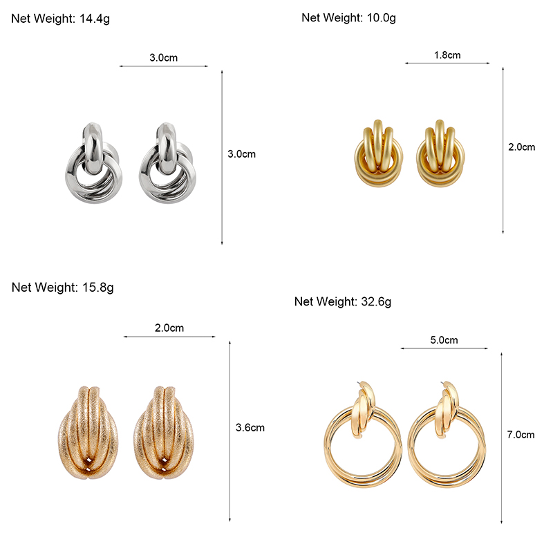 Flashbuy Gold Silver Alloy Drop Earrings For Women Exaggeration Earrings Wedding Simple Fashion Jewelry Trend Accessories 5