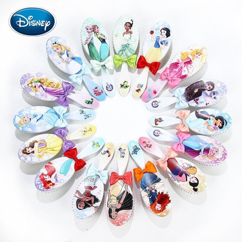 Disney 1pcs New Princess Pattern Comb Cartoon Children Comb Bow Airbag Comb Girl Gift With Box Comb