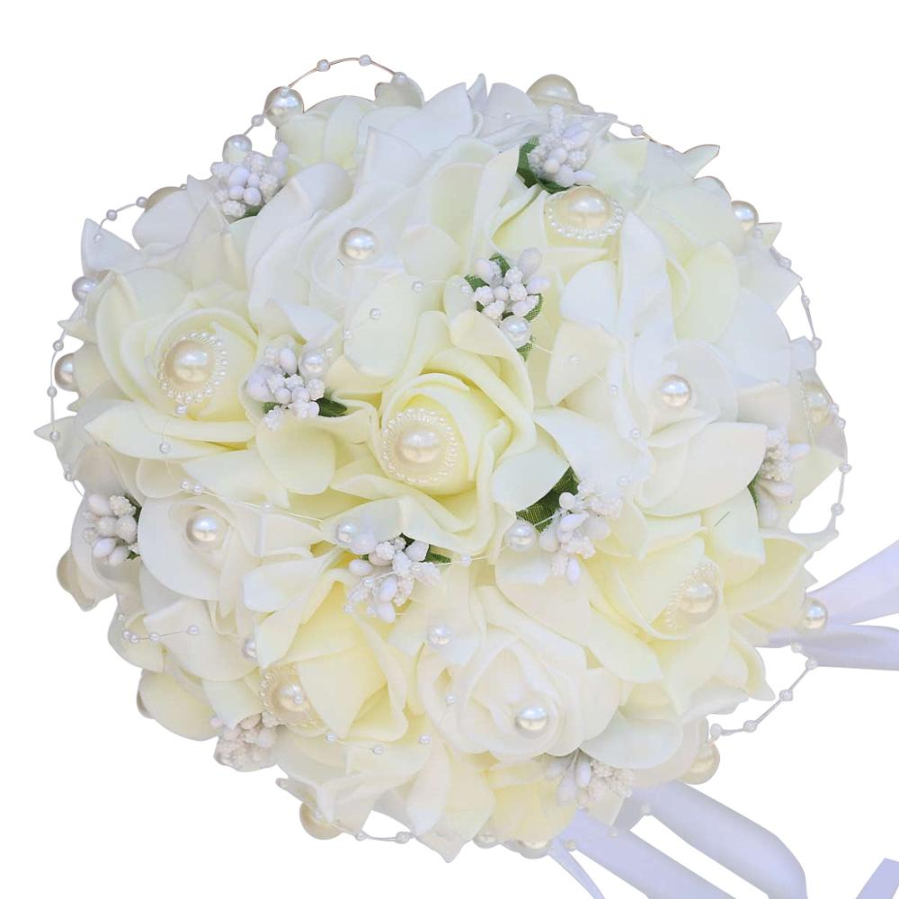 Simple Cute Wedding PE Foam Bouquets Bridesmaid Bouquet Pearl Ribbon PE Bouquet Bridal Holding Artificial Flowers Mariage FW009
