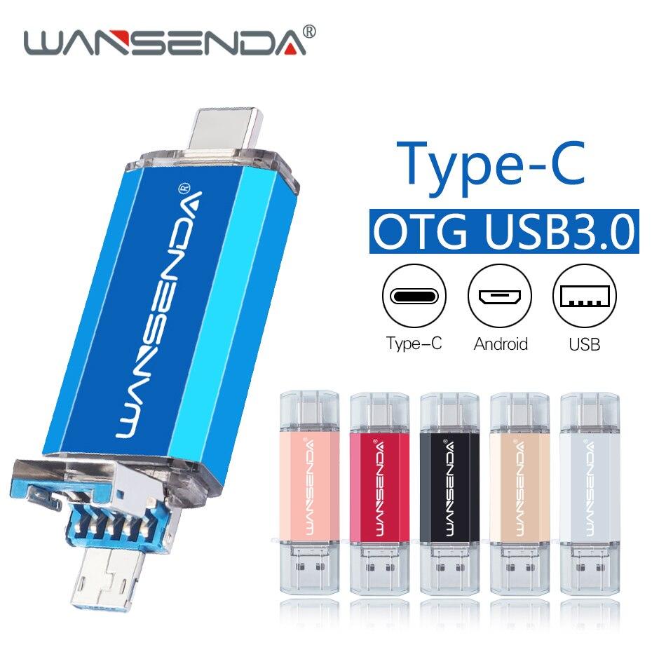 HotSell WANSENDA OTG USB Flash Drive Type C Pen Drive 16GB 32GB 64GB 128GB 256GB 512GB Pendrive 3 In 1 Micro USB Memory Stick