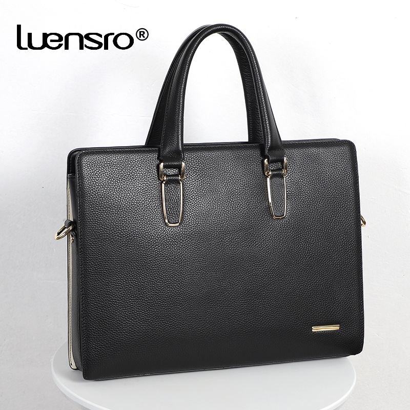 Men Bag Handbag Genuine Leather Laptop Briefcases Computer Bag Zipper Closure Business Handbags Tote Tablet Briefcase Case
