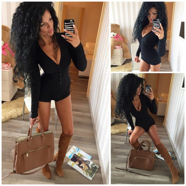 Womens Sexy V Neck Bodysuit Long Sleeve Knitted Slim One-piece Outfit 2019 Autumn Casual Wear Cotton Bodycon  Jumpsuit S-XL 4