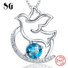 Aliexpress flying peace dove chain pendant&necklace with blue CZ 925 sterling silver diy fashion jewelry making for women gifts(China)