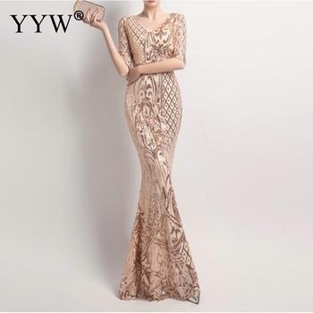 Gold Sequined Evening Dress Women Floral V Neck Elegant Mermaid Dress Gowns Ladies Slim Sexy Robe De Soiree Long Formal Dresses