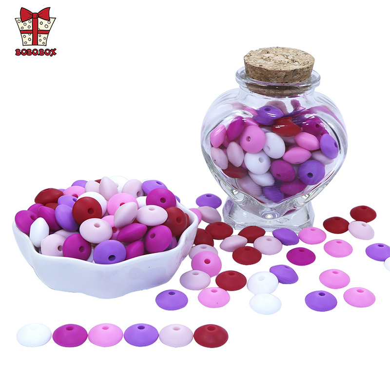 BOBO.BOX 50pcs Baby Teething Toys Pearl Silicone Beads Lentil 12mm Baby Teether Beads DIY Necklace Jewelry Bead Baby Care Toy