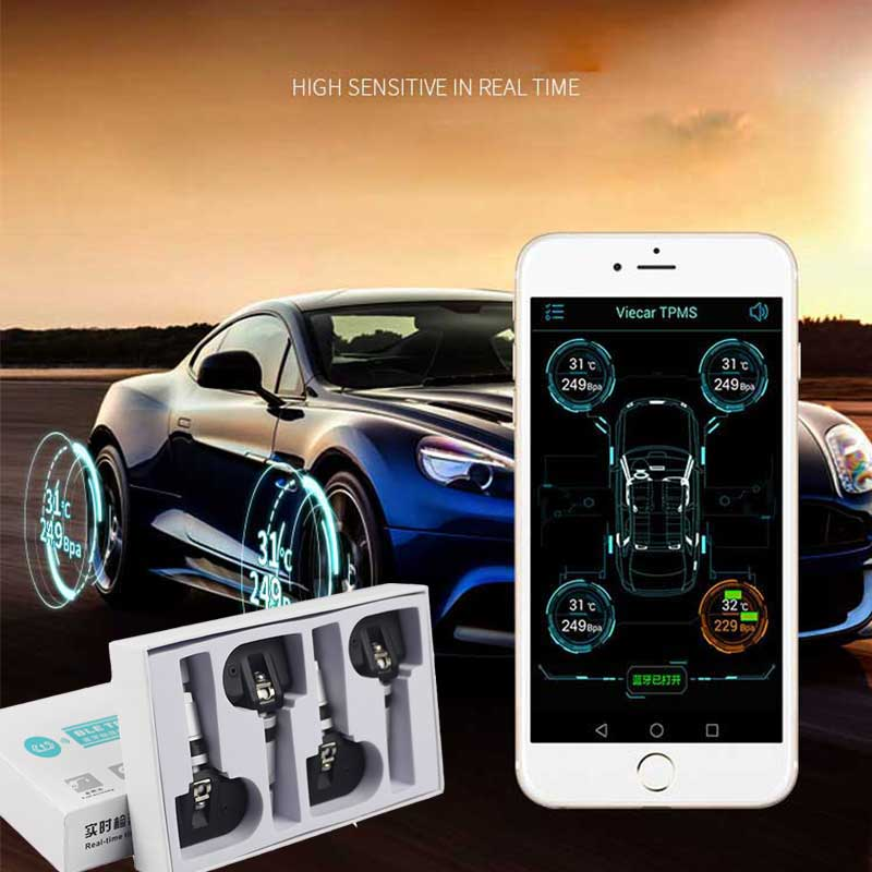 Real-time Alarm Sensor Presion Neumaticos Android APP Bluetooth 4.0 Tire Pressure Monitoring TPMS Display 4 External Sensor