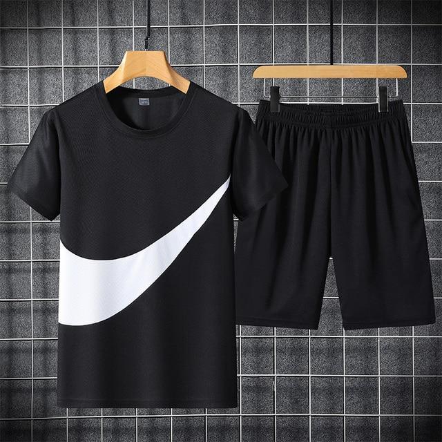 2021 New Men's T-shirt + Sports Shorts Set Summer Breathable Casual T-shirt Running Set Fashion Harajuku Printed Male Sport Suit 4