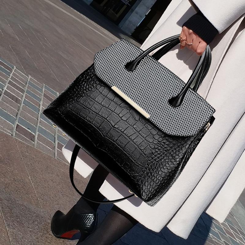 Sexy Totes Bag Crocodile Pattern High Quality Pu Leather Lady Shoulder Crossbody Bag Designer Women New Big Capacity Handbags
