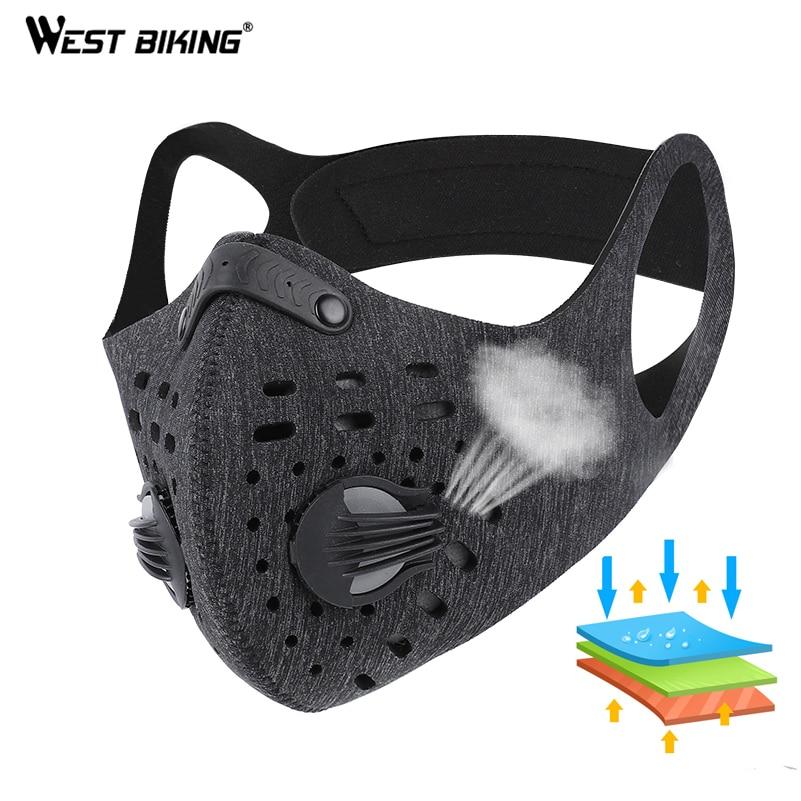 WEST vélo Sport masque facial charbon actif filtre poussière masque PM 2.5 Anti-Pollution course entraînement vtt vélo de route cyclisme masque
