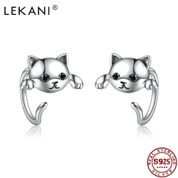 LEKANI Real 925 Sterling Silver Minimalist Cute Cat Tail Animal Stud Earrings For Women Student Trendy Jewelry Free Shipping