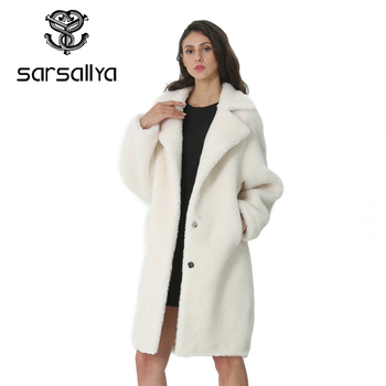 Winter Women Wool Coat Cashmere Female Long Coat Blends Woolen Elegant Autumn Jacket For Ladies Thick Warm Fur Clothes Girl 2019