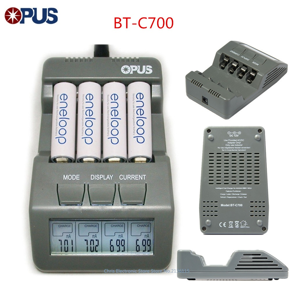Original Opus BT C700 NiCd NiMh LCD Digital Intelligent AAA 14500 AA Battery Charger Updated From BM110 EU US Adapter BT C700|aa battery charger|battery charger|us charger - title=