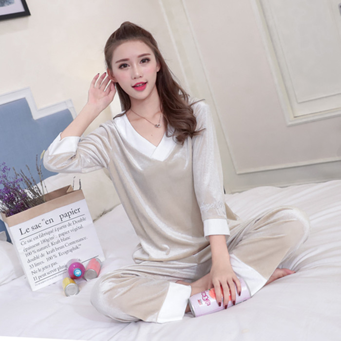 Girls Gold Velvet Pajamas Sets Women Autumn Winter Long Sleeve V-Neck Velour Pyjama Suit Warm Sleepwear Homewear Home Clothes 60