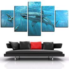 5 piezas lienzo pared arte mar imagen animales pez tiburón y Mar Leones carteles hogar/sala de estar decoración impresión pintur