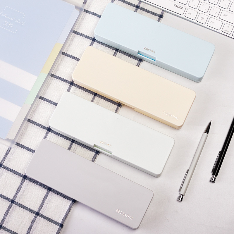 1Pcs Simple Pencil Case Frosted Plastic Pens Storage Box Teaching Stationery Office School Supplies